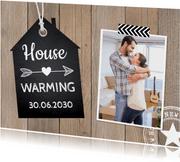 Housewarming foto houtprint
