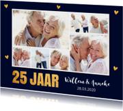 Jubileumkaart fotocollage goud hartjes 25 jaar