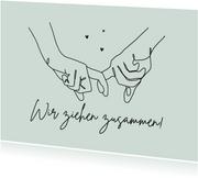 Karte Umzug Hände zusammenziehen