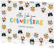 Katzen-Geburtstagskarte Party mit Konfetti
