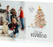 Kerst verhuiskaart foto kerstboom verhuisdozen kerstballen