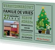 Kerst-verhuiskaart met kerst-ornamenten voor rond de kerst