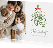 Kerstkaart christelijk zalig kerstfeest maretak mistletoe