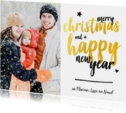 Kerstkaart - foto met glitter en gouden letters