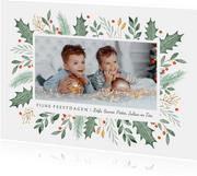 Kerstkaart fotokaart illustratie waterverf winter takjes