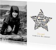Kerstkaart goudlook ster met woorden en foto