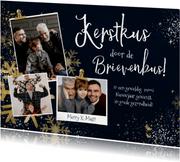 Kerstkaart 'Kerstkus' goudlook sterren ijskristal fotokaart