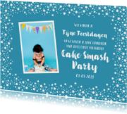 Kerstkaart kinderfeestje uitnodiging blauw sterren foto