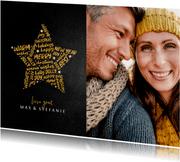 Kerstkaart krijtbord goudlook ster met woorden en foto