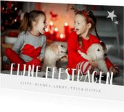 Kerstkaart met grote eigen foto en fijne feestdagen