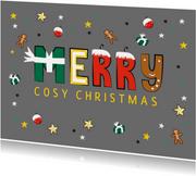 Kerstkaart met leuke vrolijke tekst