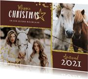 Kerstkaart paarden goud stijlvol manege sterren