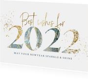 Kerstkaart relatie jaartal 2022 verf goudlook spetters