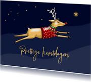 Kerstkaart - Rudolph tussen de sterren