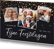 Kerstkaart sterren confetti fotocollage fijne feestdagen