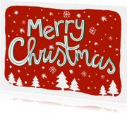 Kerstkaart tekst sneeuw kerstbomen