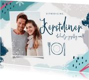 Kerstkaart uitnodiging kerstdiner winter blauw hip