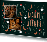 Kerstkaart warm wishes met foto en leuke illustraties