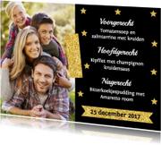 Kerstmenukaart foto sterren goud - LB