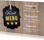 Kerstmenukaart houtlook labelprint