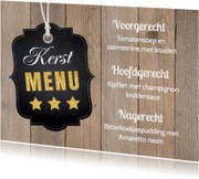 Kerstmenukaart houtprint label - LB