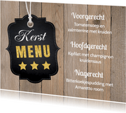 Kerstmenukaart houtprint label