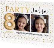 Kinderfeestje ballon 8 jaar foto met goud confetti