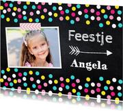 Kinderfeestje confetti uitnodiging meisje