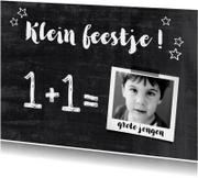 Kinderfeestje jongen krijtbord foto
