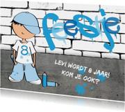 Kinderfeestje jongen stoer graffiti