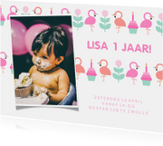 Kinderfeestje kaart met feestende flamingo's en foto