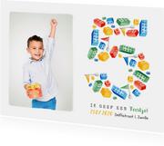 Kinderfeestje lego 5 jaar hip bouwen fotokaart