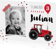 kinderfeestje stoer rood tractor confetti ballon boerderij
