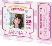 Kinderfeestje ticket roze
