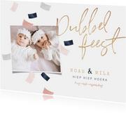 Kinderfeestje tweeling confetti dubbel feest roze goud