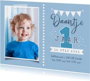 Kinderfeestje uitnodiging 1 jaar jongen foto feest slinger