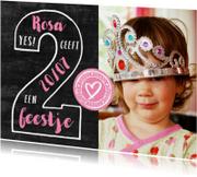 Kinderfeestje uitnodiging 2 jaar foto meisje