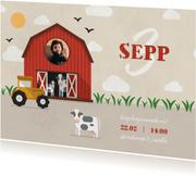 Kinderfeestje uitnodiging boerderij met tractor en koeien