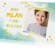 Kinderfeestje uitnodiging foto en spetters blauw
