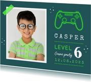 Kinderfeestje uitnodiging games controller groen
