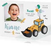 Kinderfeestje uitnodiging graafmachine tractor boerderij