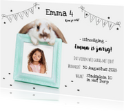 Kinderfeestje - Uitnodiging konijn fotolijstje