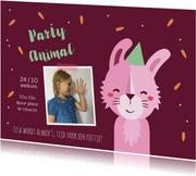 Kinderfeestje uitnodiging party animal konijn