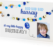 Kinderfeestje uitnodiging slingers blauw