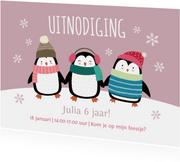 Kinderfeestje uitnodigingskaart pinguïns roze