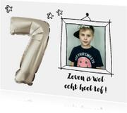 Kinderfeestje zeven jaar ballon zilver kleur aanpasbaar