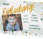 Kindergeburtstag Einladung Foto & Konfetti grün