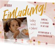 Kindergeburtstag Einladung Foto & Konfetti rosa