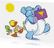 Kinderkaart eend Guusje naar school