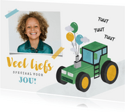 Kinderkaart veel liefs tractor foto ballonnen